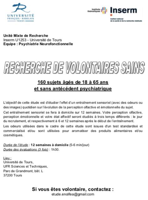 Recherche de Volontaires Sains